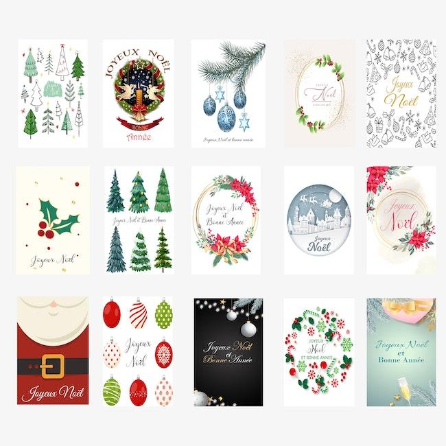 Lot de 15 cartes de voeux de Noël