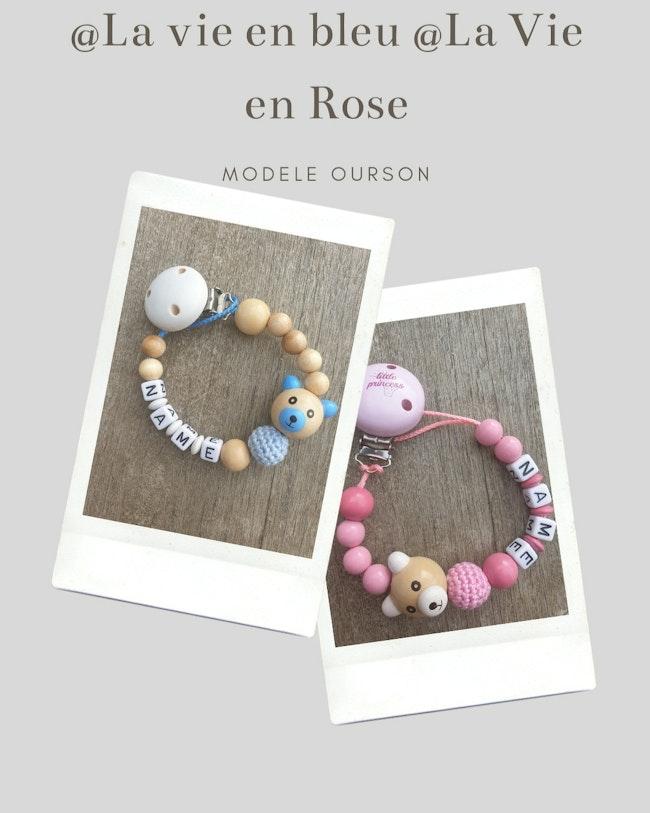 Attache tétine bébé modèle ours perle hochet bleu ou rose