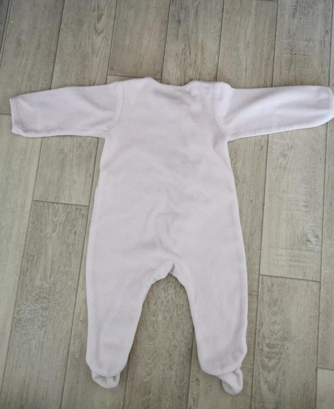 Pyjama velours rose pâle 6 mois in extenso