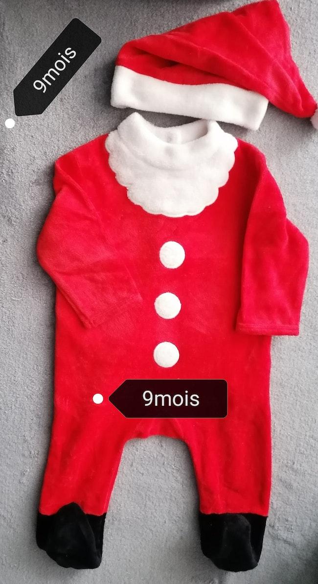 Grenouillère +bonnet père Noël