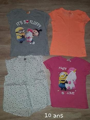 Lot de t shirts fille 10 ans