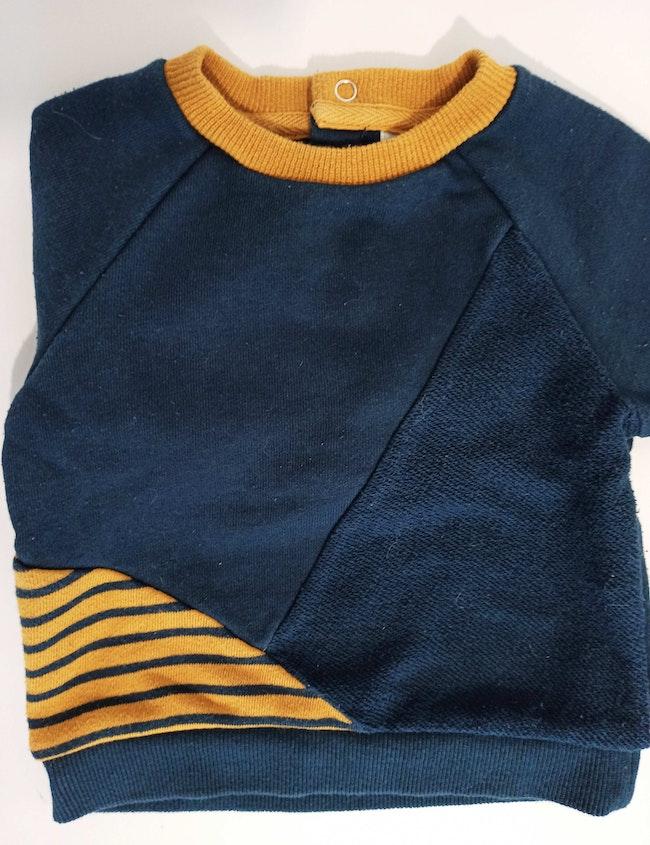 Pull chaud bleu marine et jaune