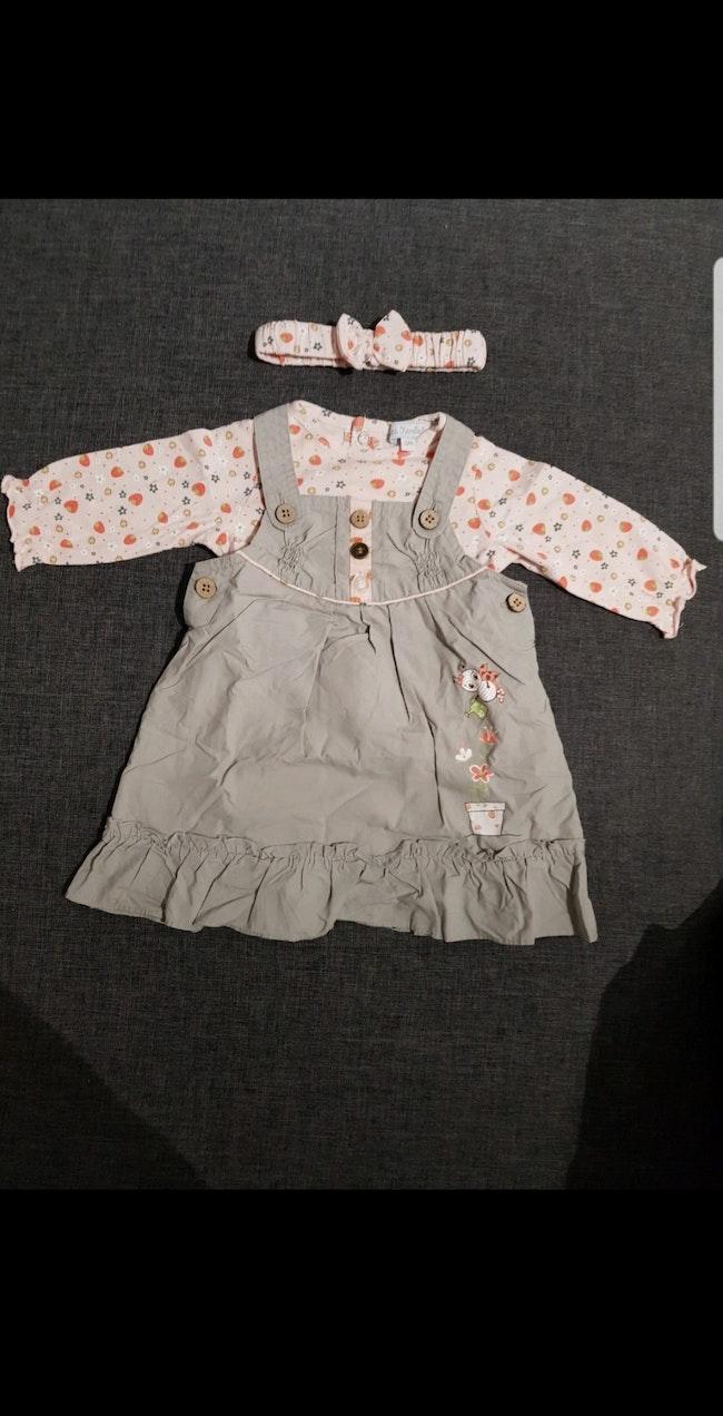 Ensemble bébé fille 3 pièces (Robe + t-shirt manches longues + Bandeau cheveux) 3 mois