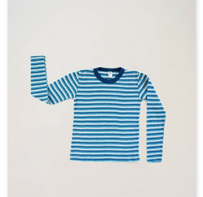 Teeshirt manches longues ecru à rayures turquoises / 12 ans