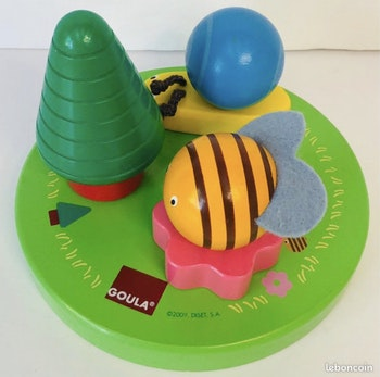 Goula 55215 Abeille escargot à visser Puzzle 3D jouet bois wooden toy bee snail lot hape SOP77