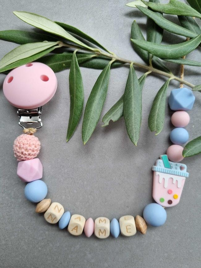 Attache tétine bébé  en perle silicone rose et bleu milshake