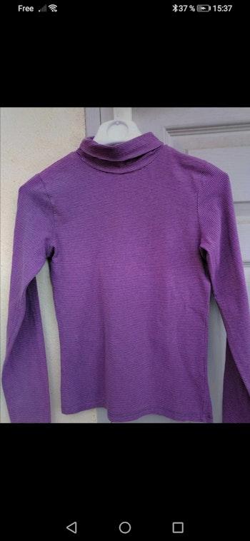 Sous pull rayé violet Okaidi 12 ans pour fille