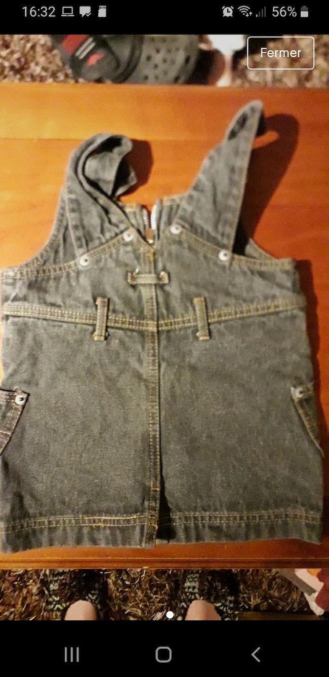 Robe salopette en jeans noir bebe 24mois