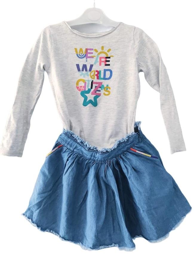 4 5 ans fille ensemble tee-shirt okaidi, jupe kiabi