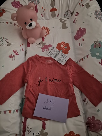 Tshirt a manches longues rose neuf