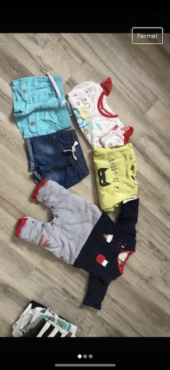 Lot 9 mois garçons short + pyjama + sur pyjama