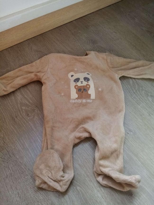 Pyjama velours 1 mois beige
