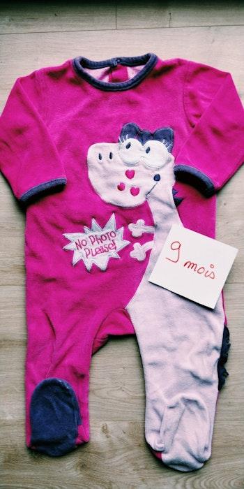 Pyjama dors-bien grenouillère fille rose 9 mois - pensez au lot