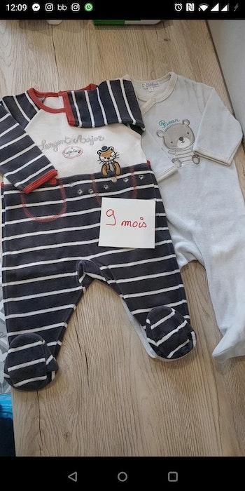 Lot 2 Pyjamas grenouillères garçon 9 mois 67 cm