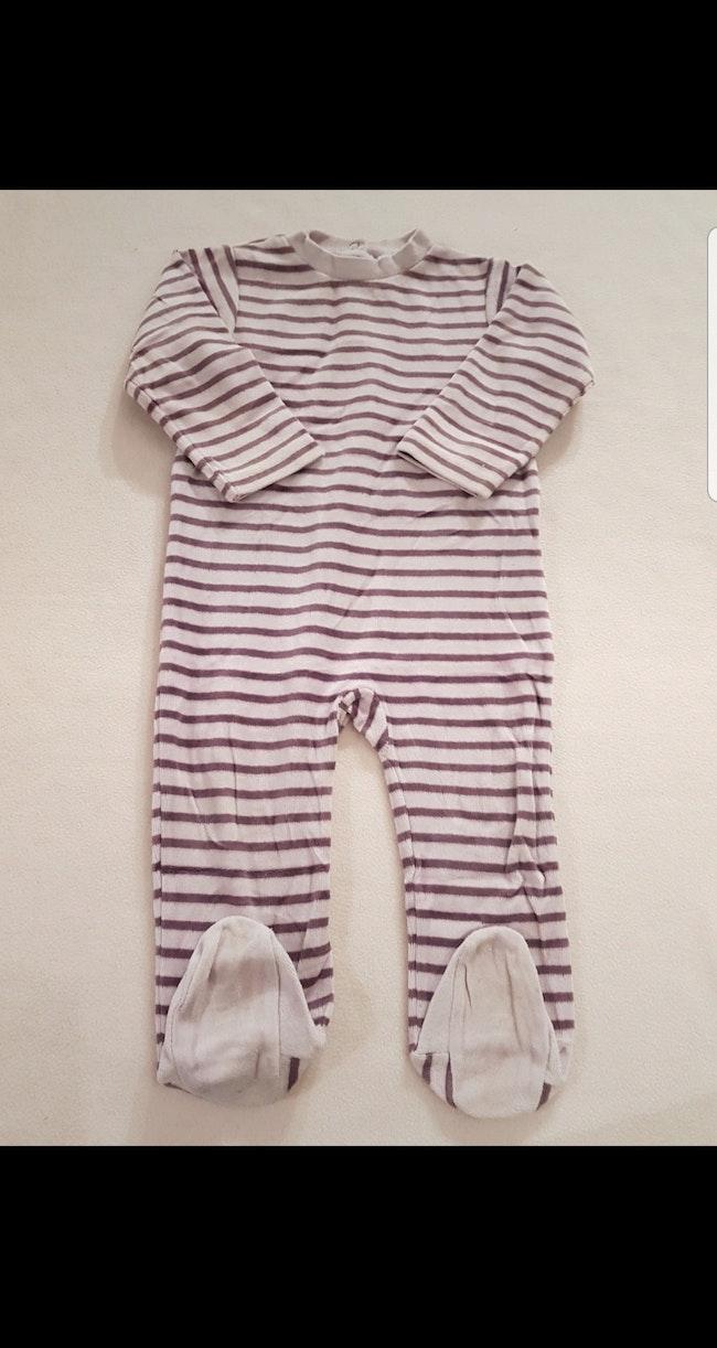 Grenouillère velours à rayures enfant fille 18 mois
