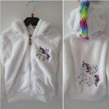 Sweat veste polaire licorne blanche taille 4 ans 8 ans 10ans 12 ans