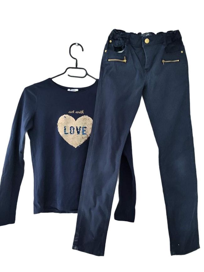 12 ans fille ensemble teeshirt sequin magique okaidi et pantalon Z
