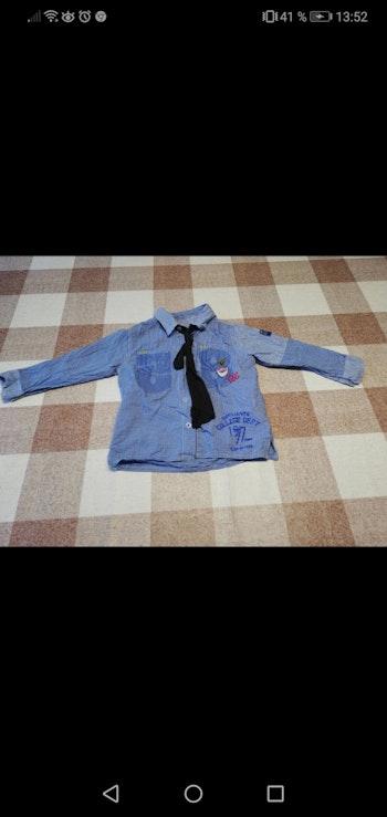 Chemise 3 ans manches longues à carreaux bleu avec cravate intégrée