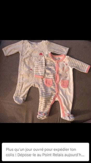 2 pyjama velours naissance