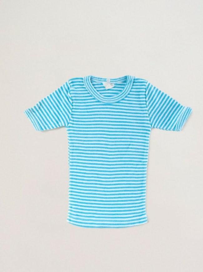 Tee-shirt rayé turquoise / 6-9 mois
