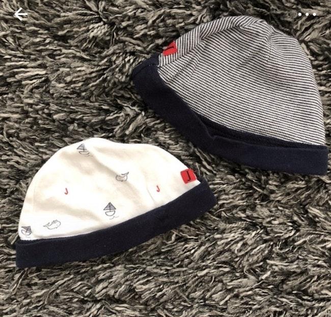 Lot de 2 bonnets 3/6 mois jasper Conran debenhams style petit bateau tbe