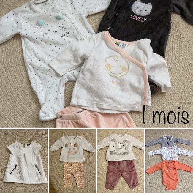 Lot de 12 pièces bébé fille 1 mois