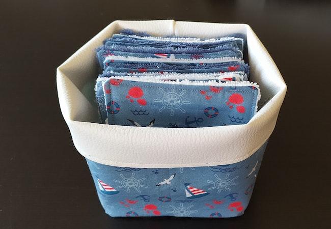 Lot 12 lingettes lavables bambou +  panier de rangement