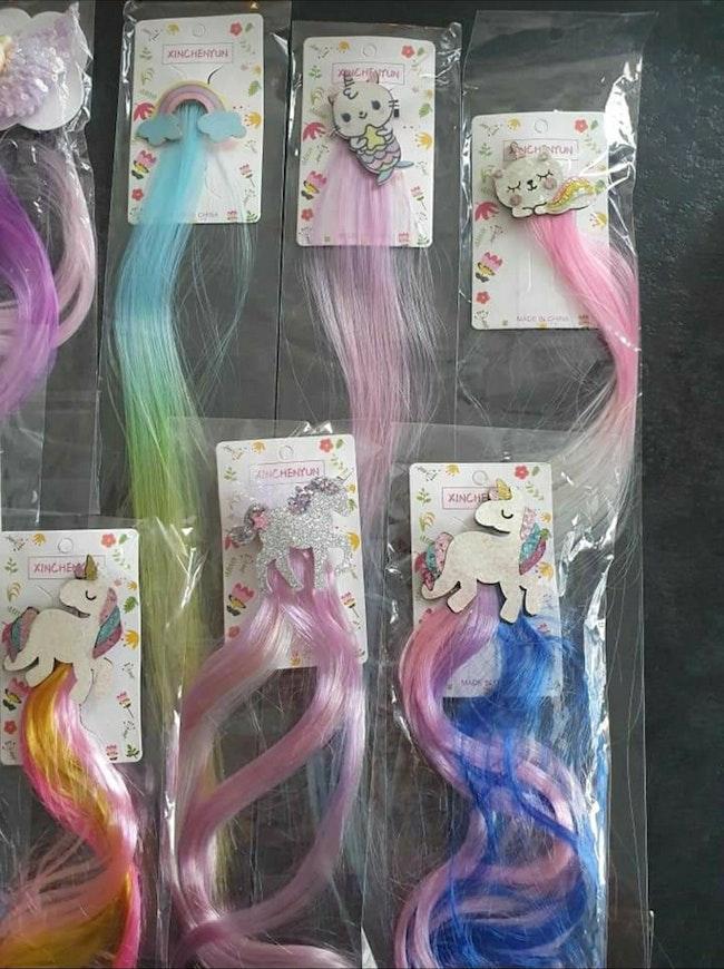 Barettes et mèches de couleurs divers modèles