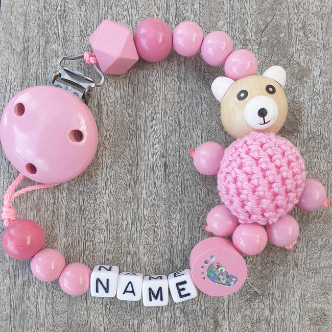 Attache tétine bébé perle crochet rose