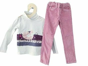 4 ans fille ensemble t-shirt col roulé et pantalon hiver côté
