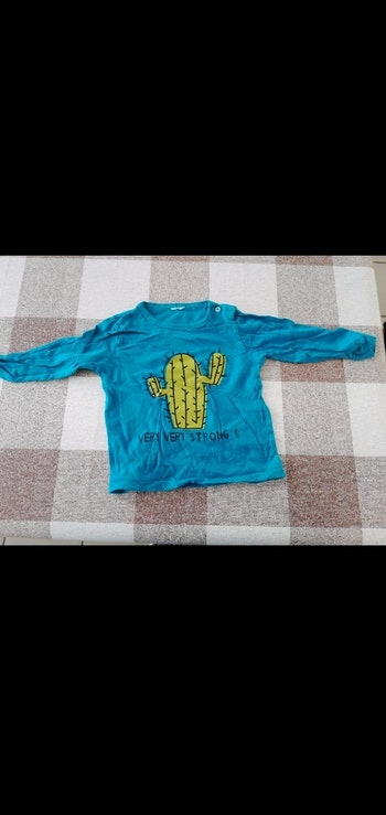 Tee shirt 18 mois manches longues cactus bleu canard