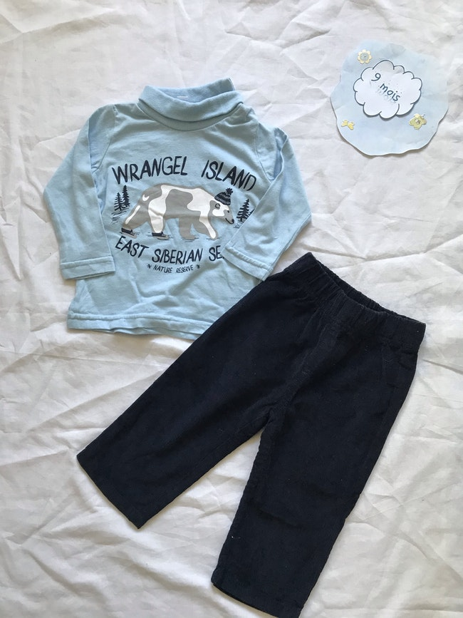 Ensemble sous pull et pantalon - taille 9 mois