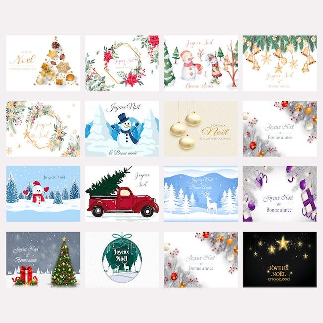 Lot de 16 cartes de voeux de Noël