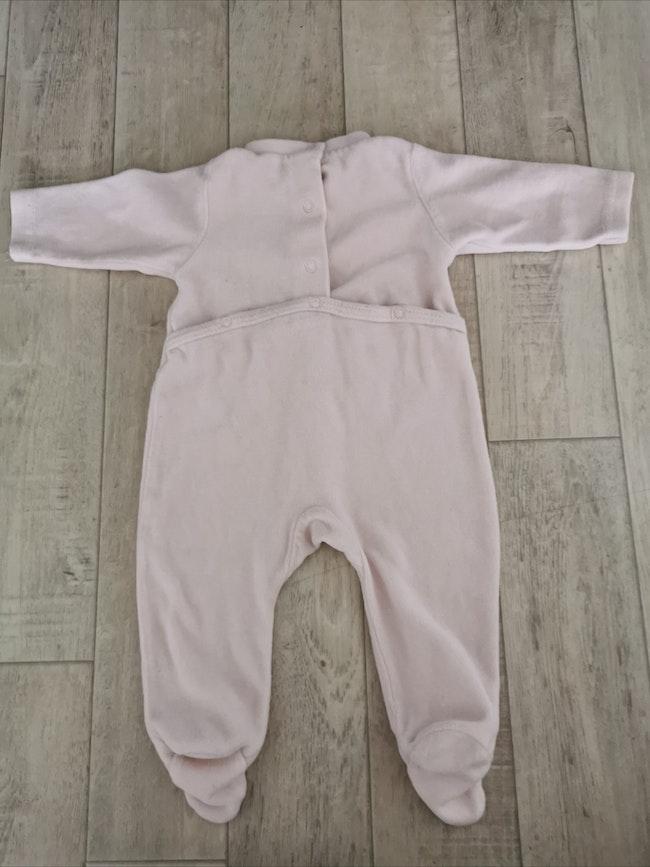 Pyjama velours rose pâle 3 mois petit Kimbaloo