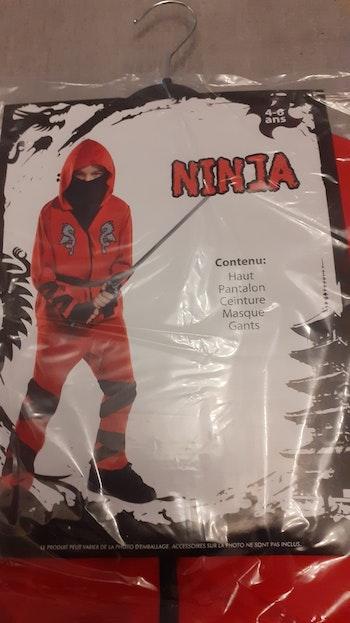 Deguisement ninja 4/6ans neuf