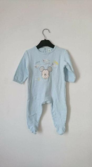 Grenouillère coton bleu clair Mickey Disney 6 mois