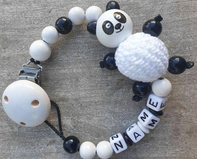 Attache tétine bébé Panda perle crochet