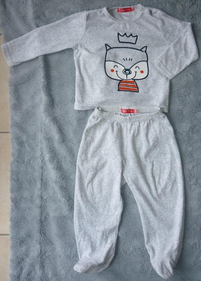Pyjama velours 2 pièces gris