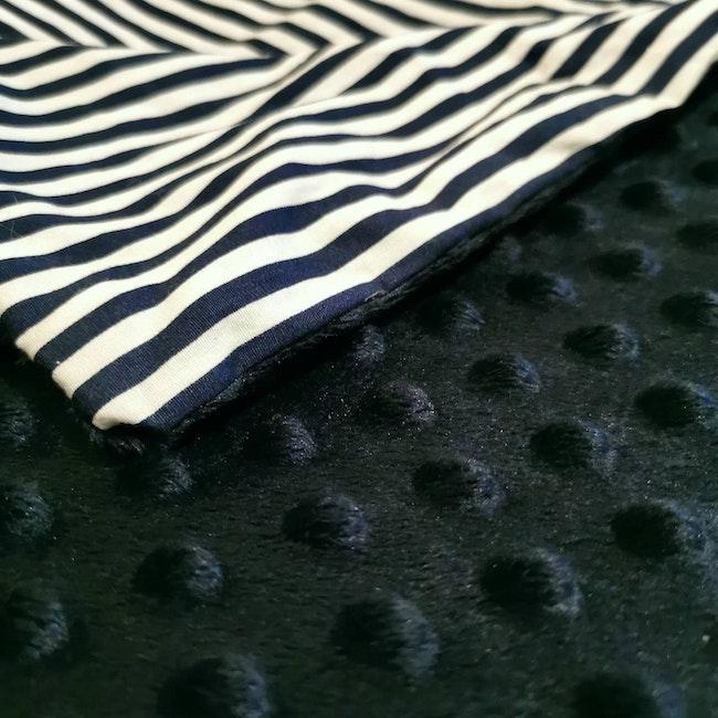 Couverture plaid pour bébé minky bleu marine et coton motif marin marinière