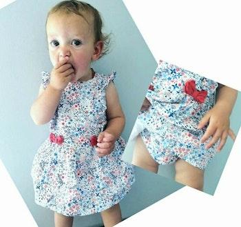9 mois bébé fille robe + bloomer Sergent major