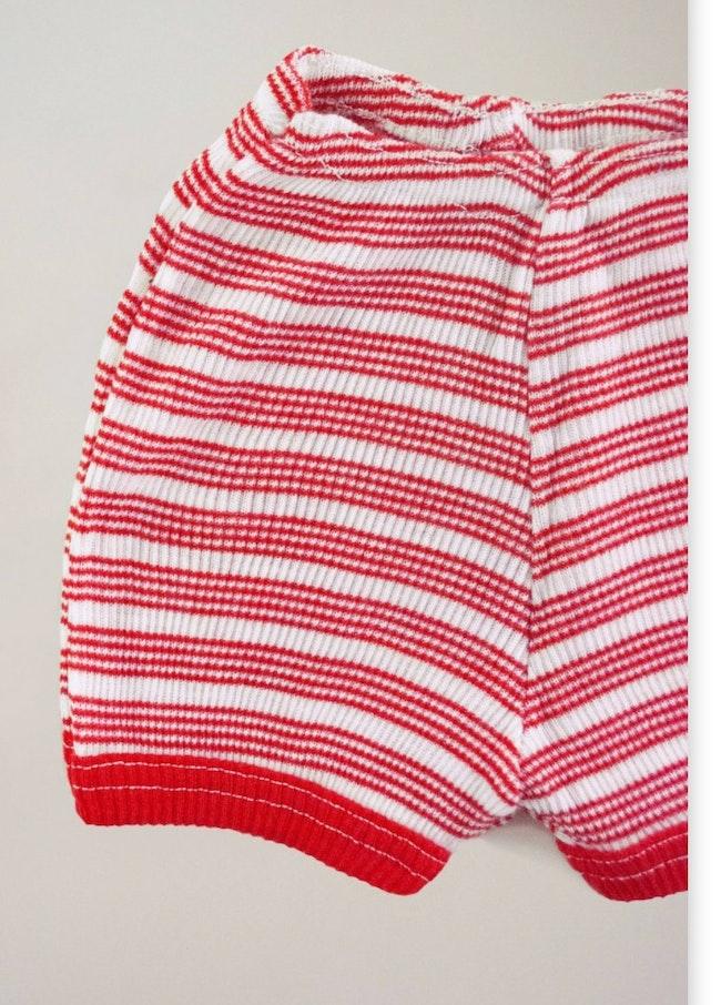 Short côtelé rayures rouges / 18-24 mois