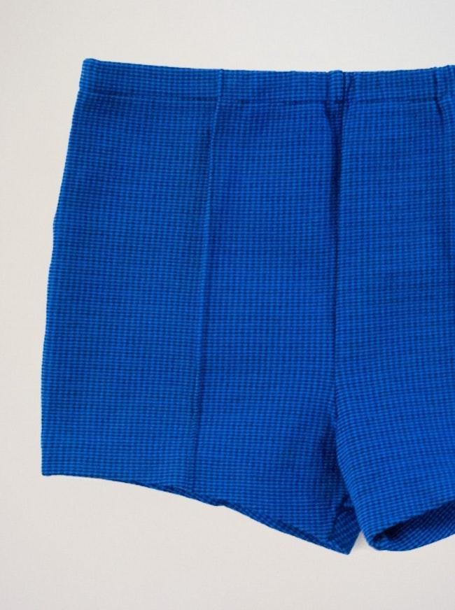Short Pied De Poule Bleu Et Noir