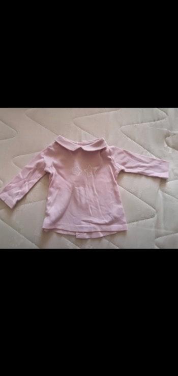 Tee shirt 1/3 mois manches longues col polo rose Tex