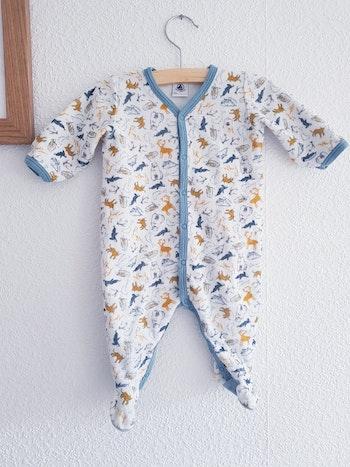 Petit Bateau - Grenouillère / pyjama une pièce / dors bien en velours