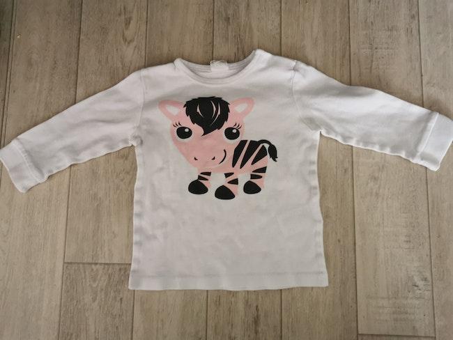 T shirt manches longues bébé zèbre 6-9 mois
