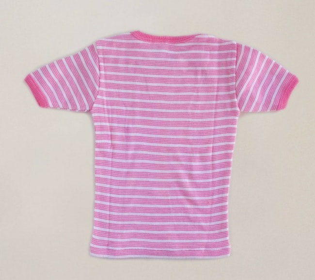 Teeshirt côtelé rayures roses / 6 ans