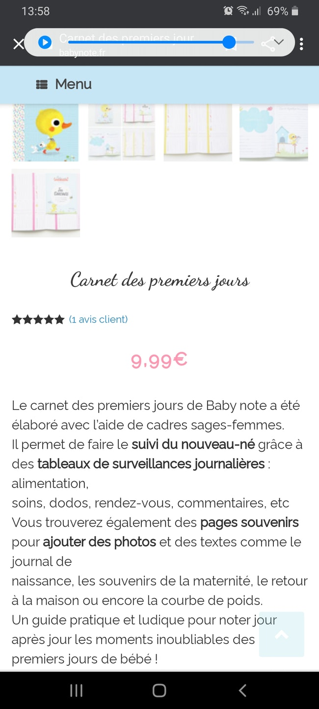 Carnet baby note premiers jours