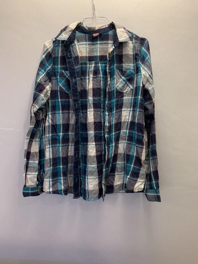 Chemise à carreaux bleu Kiabi