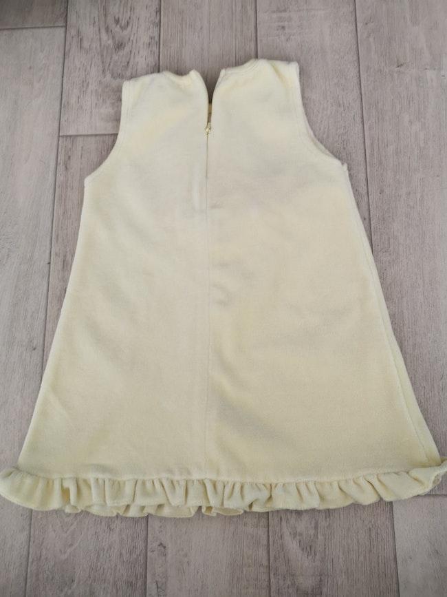 Robe velours jaune avec fermeture devant 6 mois