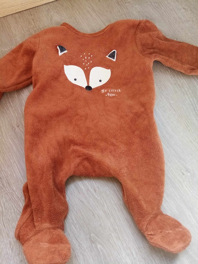 Pyjama velours 1 mois renard